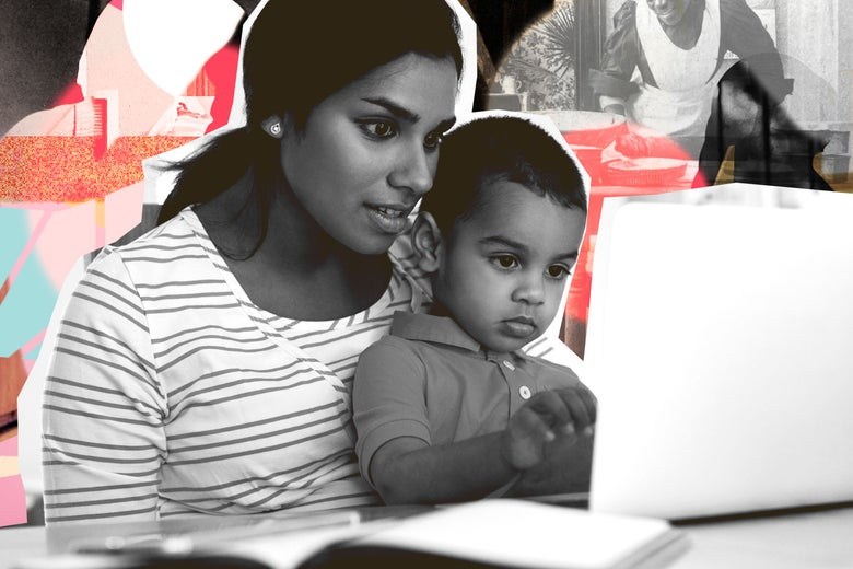 Woman and her son on computer.