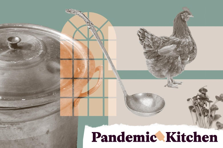 """Collage of a stock pot, a soup ladle, a church window, a chicken, and microgreens, with a """"Pandemic Kitchen"""" label in the corner."""