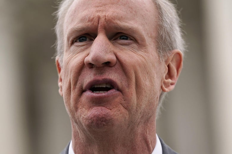 WASHINGTON, DC - FEBRUARY 26:  Governor of Illinois Bruce Rauner speaks to members of the media in front of the U.S. Supreme Court after a hearing on February 26, 2018 in Washington, DC. The court is hearing the case, Janus v. AFSCME, to determine whether states violate their employees' First Amendment rights to require them to join public sector unions which they may not want to associate with.  (Photo by Alex Wong/Getty Images)