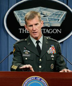 Commander of U.S. Forces Afghanistan General Stanley McChrystal . Click image to expand.