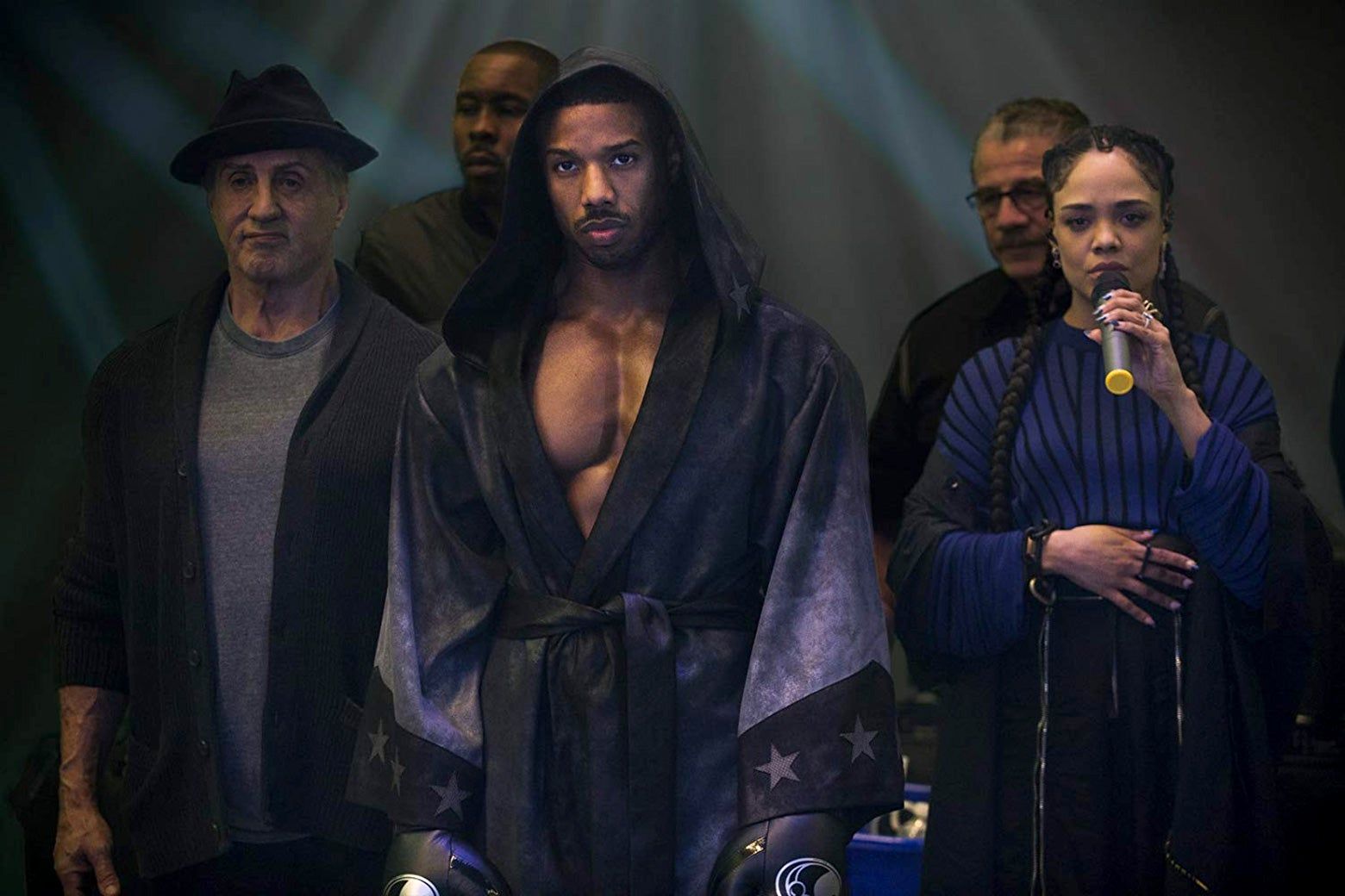 Sylvester Stallone, Michael B. Jordan, and Tessa Thompson in Creed II.
