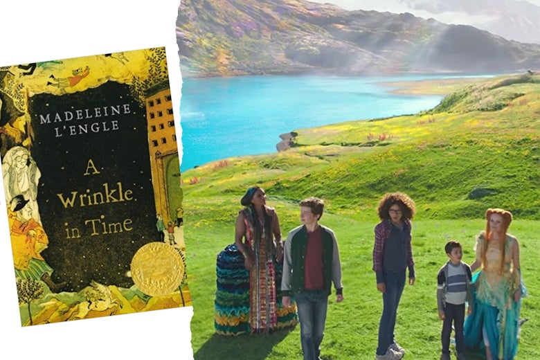 At left: The Wrinkle in Time book jacked. At right: A scene from the film.
