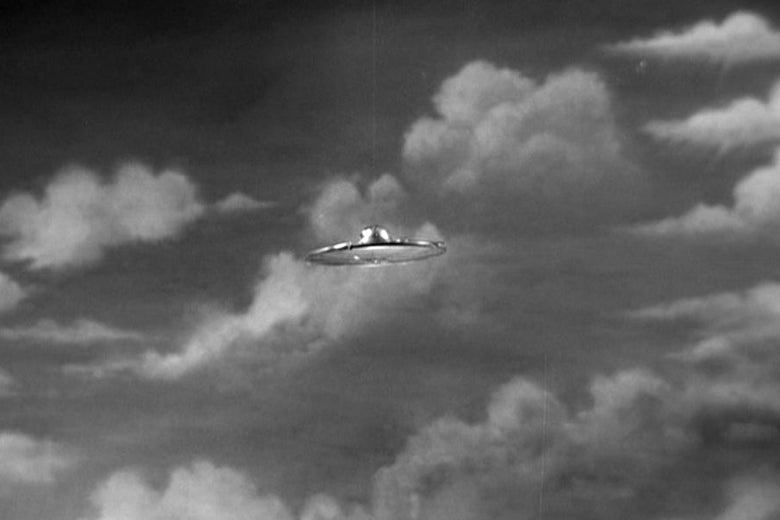 A flying saucer in Plan 9 From Outer Space.