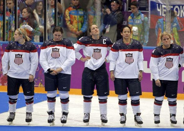 losing their women's gold medal ice hockey game against Canada at the Sochi 2014 Winter Olympic.