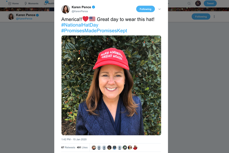 A screenshot of a tweet from Karen Pence, featuring a photo of her wearing a red MAGA hat.