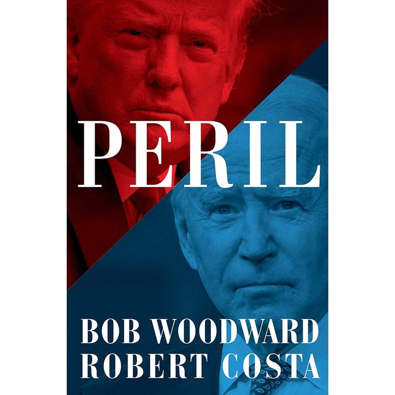 The cover is half blue, half red, with Trump's face on the top left half in red and Biden's face along the lower right half in blue