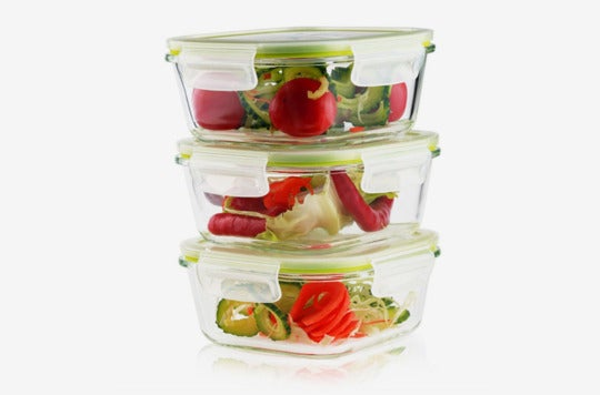 Living Express 6 Pieces Glass Food Storage Container Set.