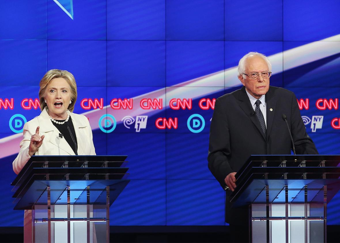 Democratic Presidential candidates Hillary Clinton and Sen. Bernie Sanders debate during the CNN Democratic Presidential Primary Debate at the Duggal Greenhouse in the Brooklyn Navy Yard on April 14, 2016 in New York City.