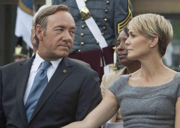 Kevin Spacey as Frank Underwood and Robin Wright as Claire Underwood in House of Cards.