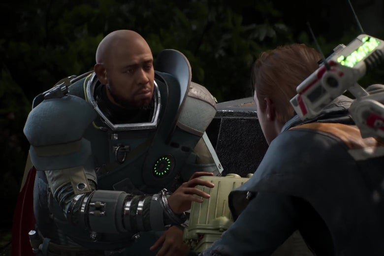 An uncanny-valley version of Forrest Whittaker hands a monocular to a character in Star Wars Jedi: Fallen Order.