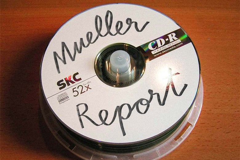 """CD-R spindle with a disc labeled """"Mueller Report"""" on top."""