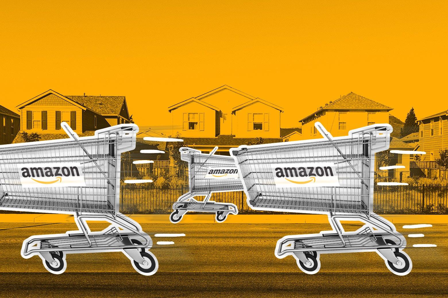 Amazon delivery carts.