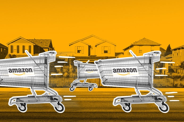 Amazon delivery carts.