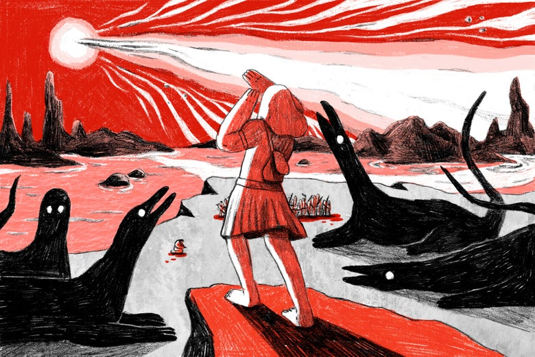Illustration: A wandering woman journeys through a harsh and unforgiving landscape.