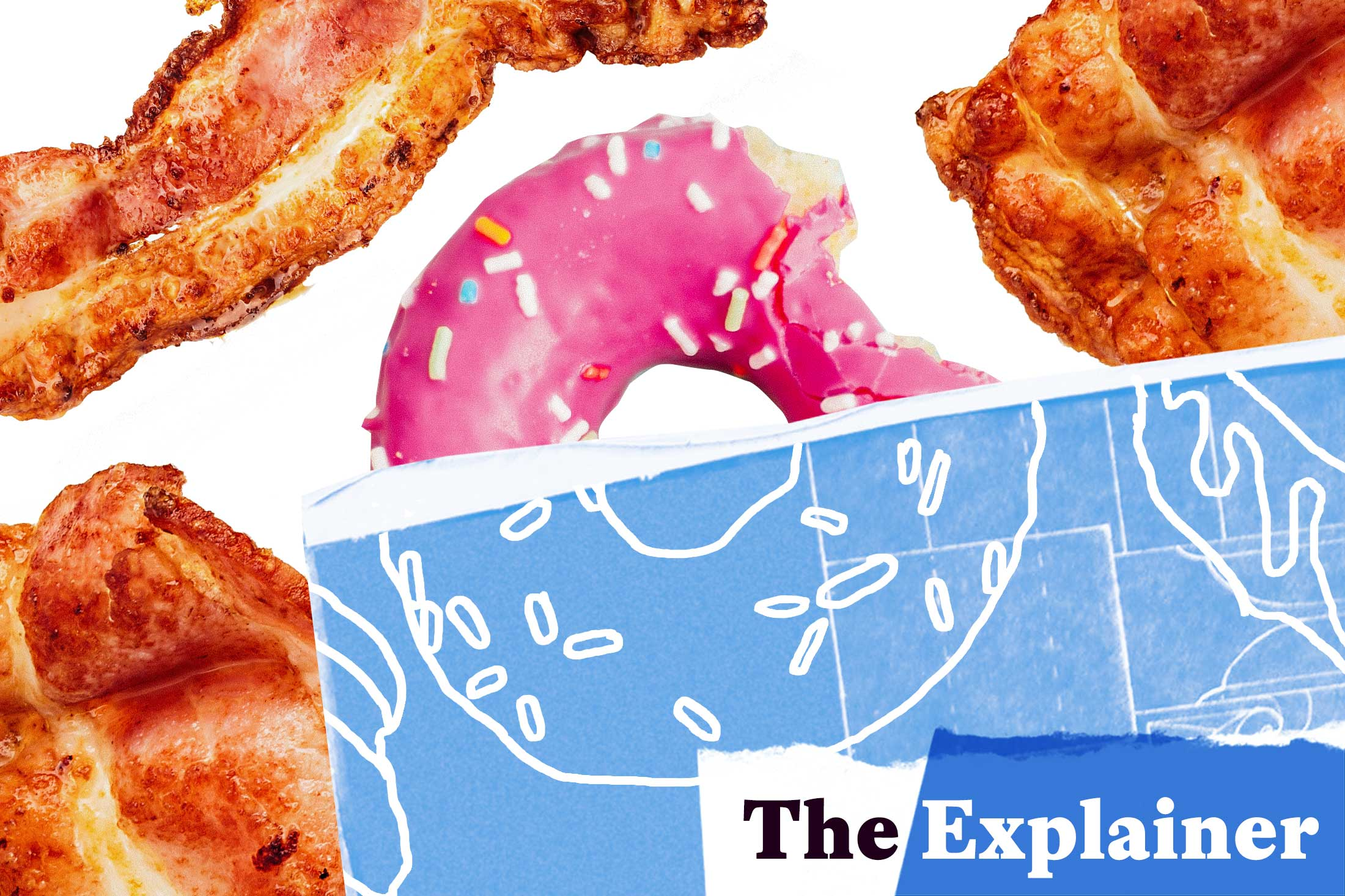 Donut and bacon strips overlaid with a blueprint.