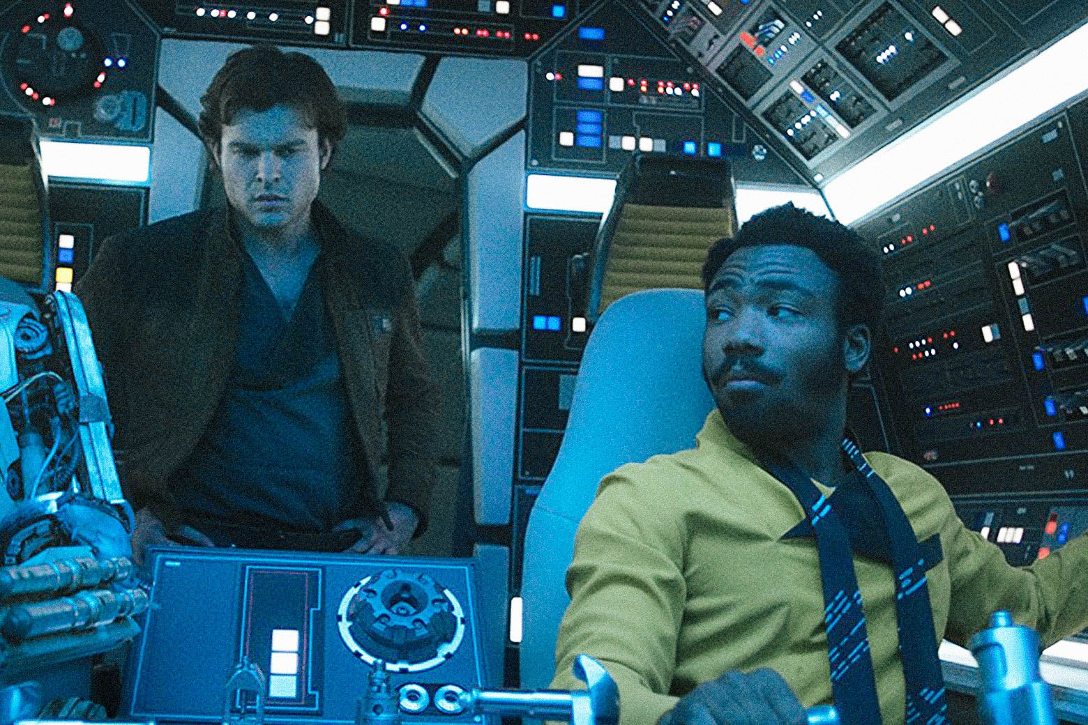 Alden Ehrenreich and Donald Glover in Solo: A Star Wars Story.