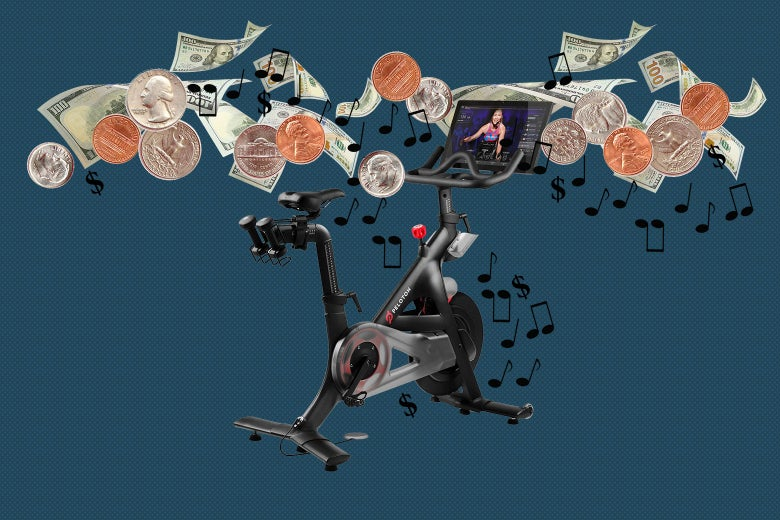Photo collage of a Peloton bike with dollar bills, coins, dollar signs, and musical notes flowing around it