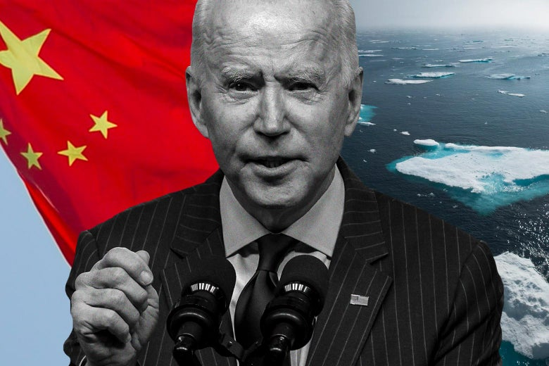 Joe Biden with a Chinese flag behind one shoulder and melting icebergs behind the other.