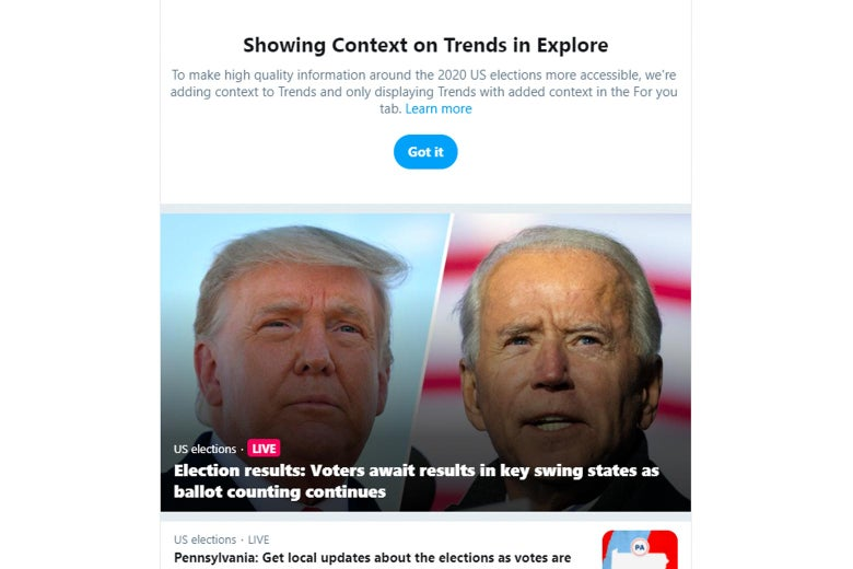 "Twitter timeline of election results stories with a note at the top from Twitter on how and why the platform is ""Showing Context on Trends"""