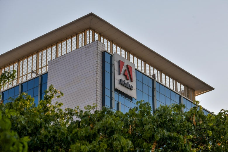An office building with the Adobe software company logo