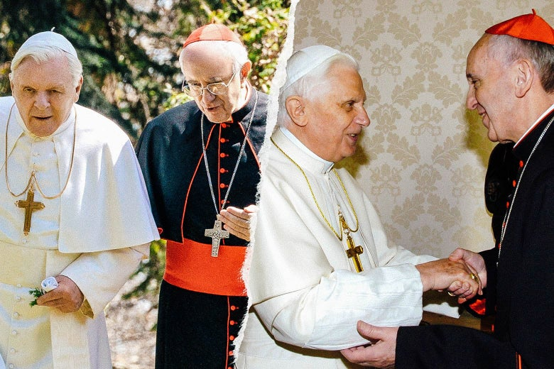 Hopkins and Pryce in The Two Popes; Pope Benedict XVI meets Cardinal Jorge Mario Bergoglio at the Vatican in 2007.
