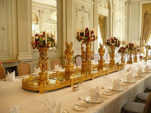 Gold pieces from diner room at the Hôtel de Charost, home of the ambassador of Great Britain, Paris, France.