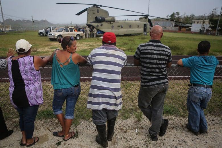 A U.S. Army delivering FEMA-provided supplies in Utuado, Puerto Rico last October 18.