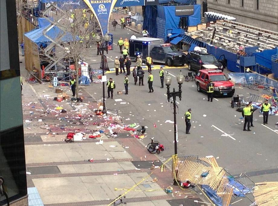 Explosion at the Boston Marathon finish line.