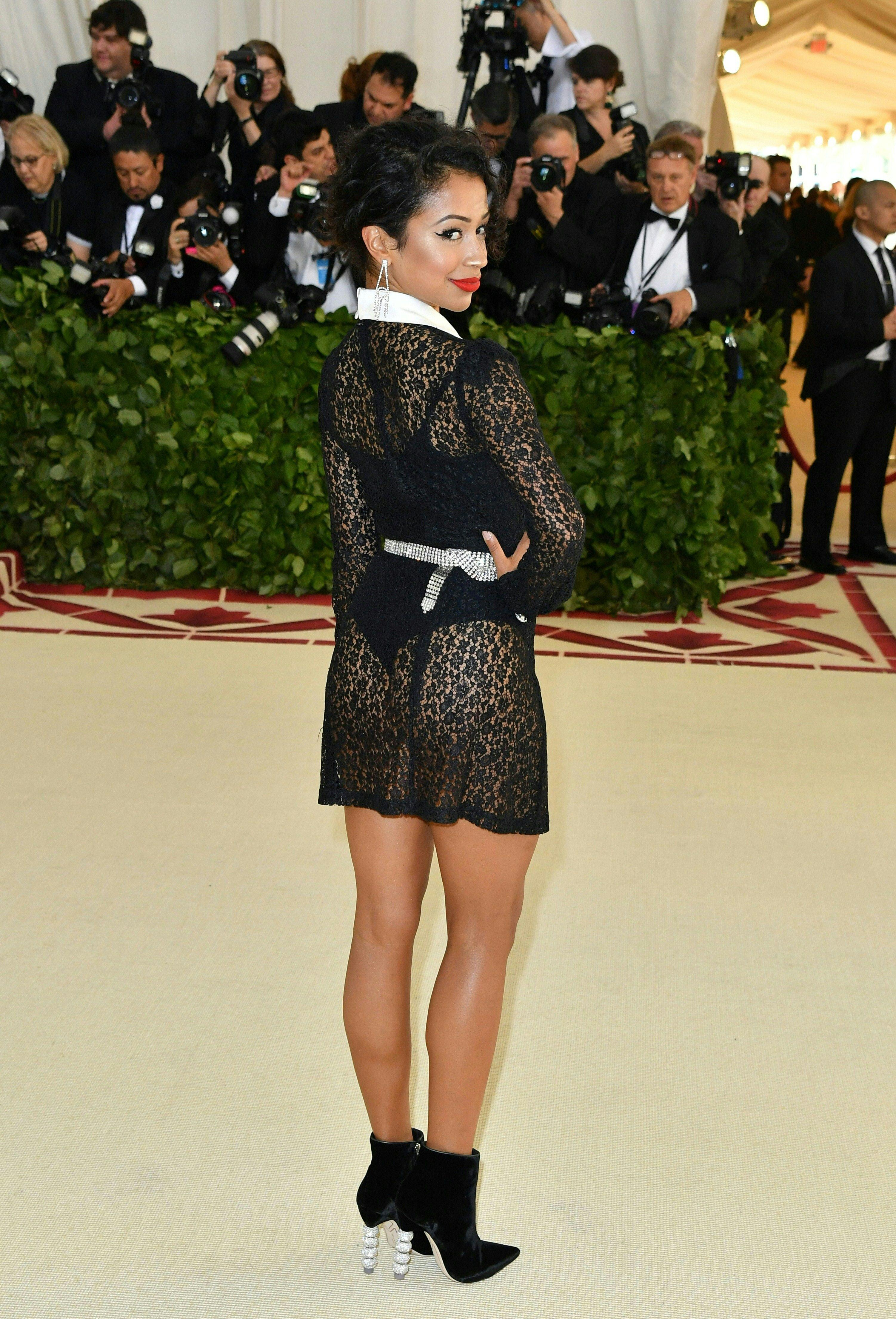 Liza Koshy arrives for the 2018 Met Gala on May 7, 2018, at the Metropolitan Museum of Art in New York. - The Gala raises money for the Metropolitan Museum of Artââ¬â¢s Costume Institute. The Gala's 2018 theme is ââ¬ÅHeavenly Bodies: Fashion and the Catholic Imagination.ââ¬ï¿½ (Photo by Angela WEISS / AFP)        (Photo credit should read ANGELA WEISS/AFP/Getty Images)