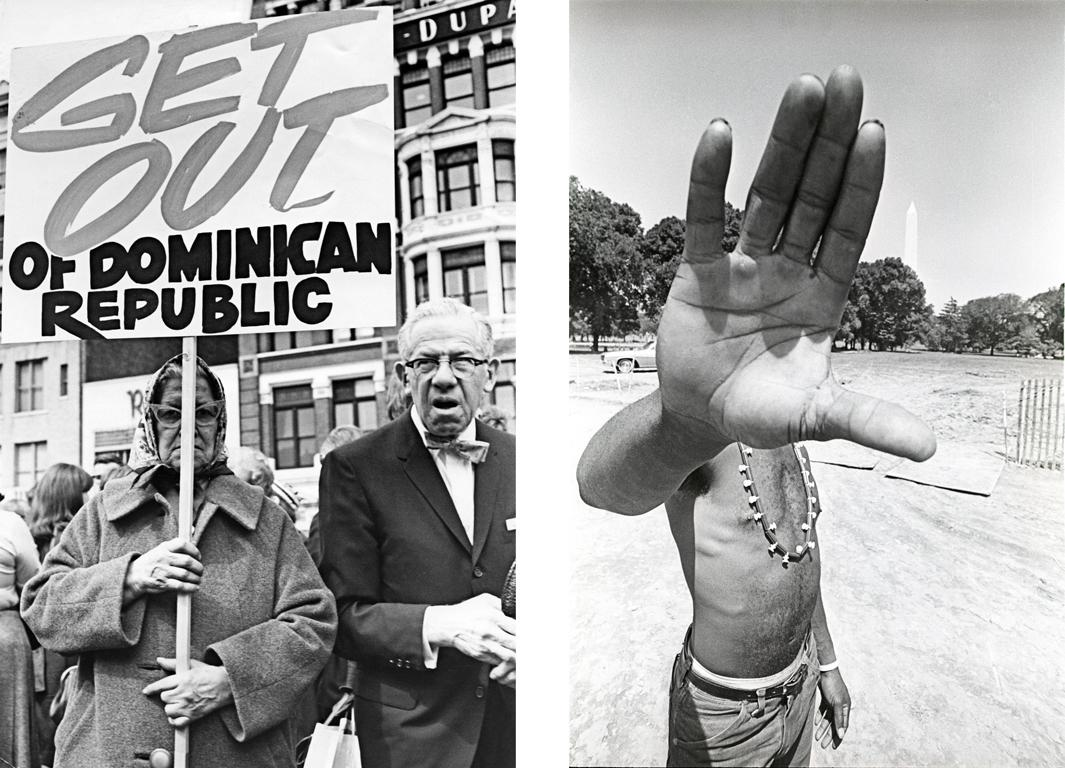 Left: Protest against the U.S.invasion of the DominicanRepublic. Circa 1965. Right: Solidarity Day,Washington D.C., June1968.