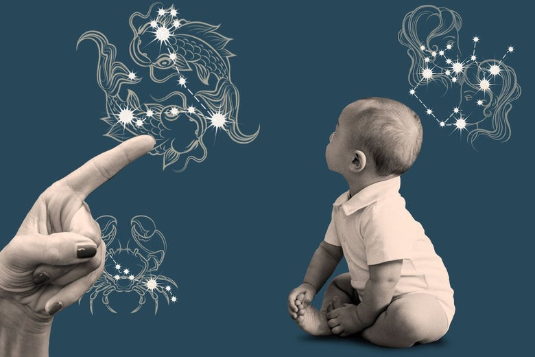 A grown-up hand pointing at a an illustration that represents the signs of the zodiac, as an infant looks toward them.