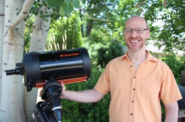 Phil Plait and telescope