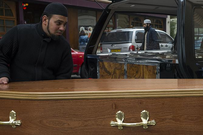 In London's East End, wedged tightly between an Islamic bookshop and the city's largest mosque is England's first funeral home for Muslims, open 365 days a year, whether it's Eid, Christmas, or New Year's Eve