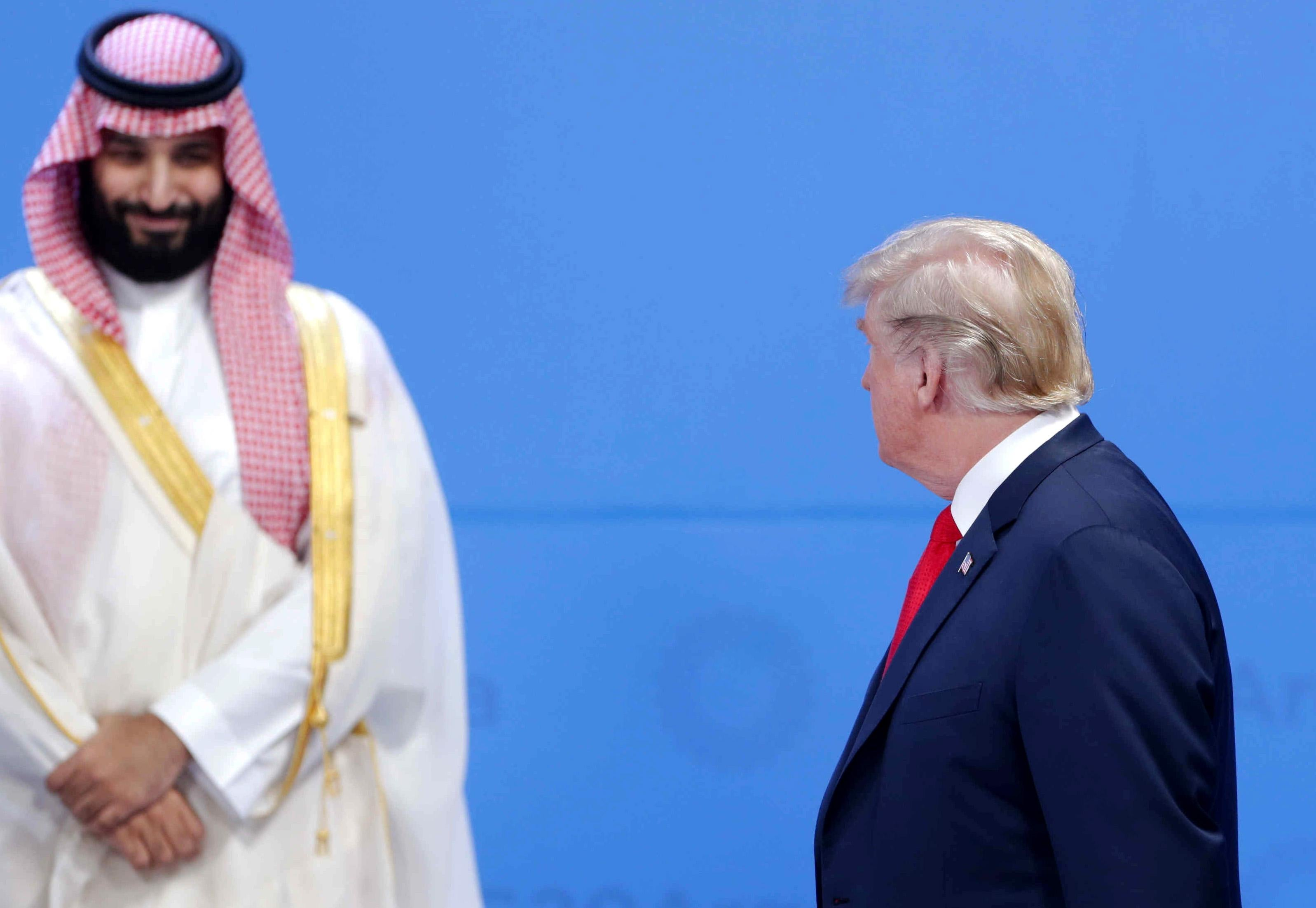 President Trump looks over at Crown Prince of Saudi Arabia Mohammad bin Salman at the G20 on Nov. 30, 2018 in Buenos Aires, Argentina.