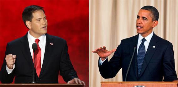 Sen. Marco Rubio and Pres. Obama.
