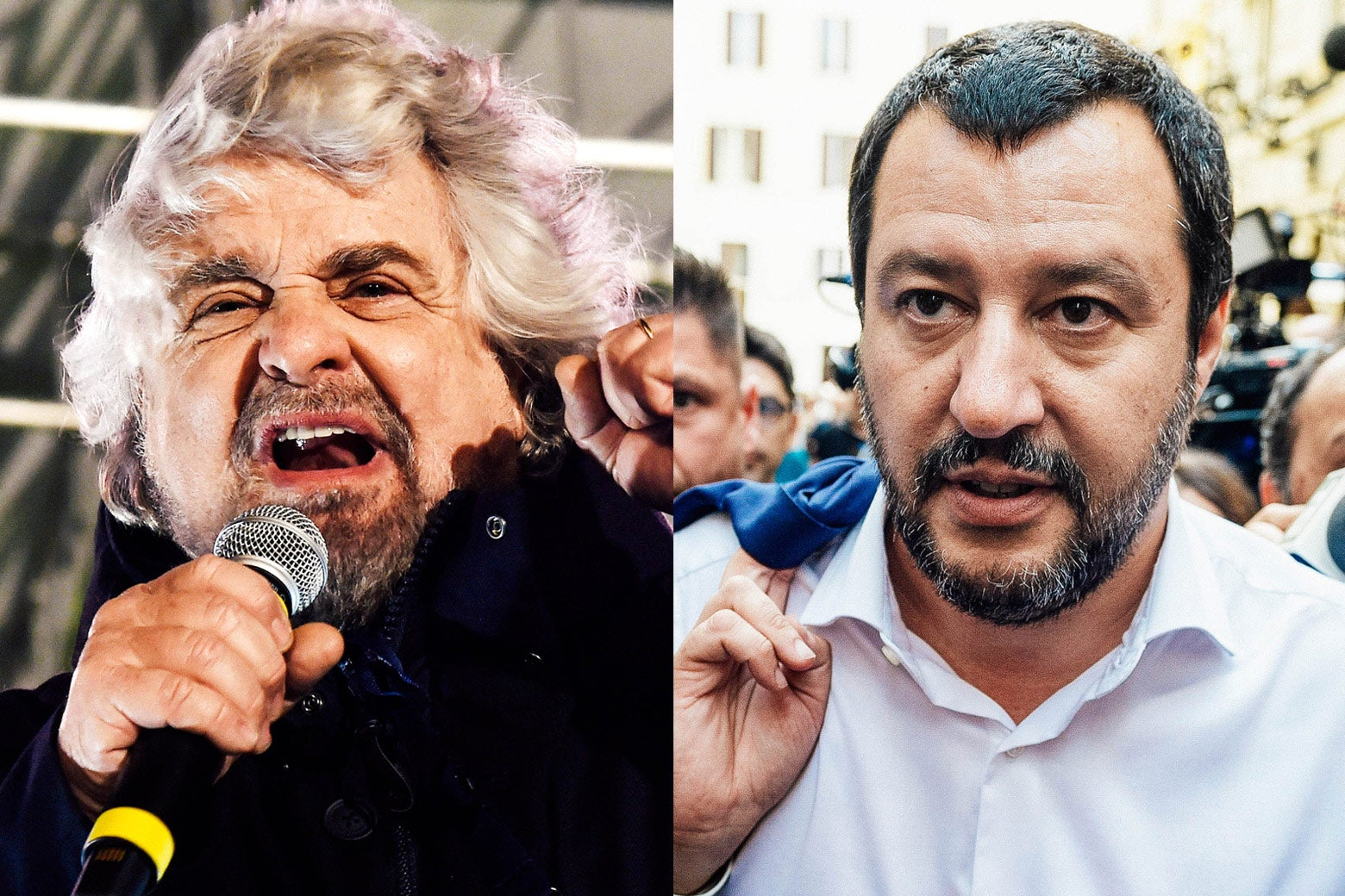 Side-by-side of political leaders Beppe Grillo and Matteo Salvini.