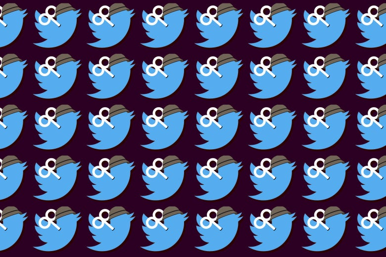 A repeating pattern of blue Twitter birds, each with a wind-up key and a helmet.