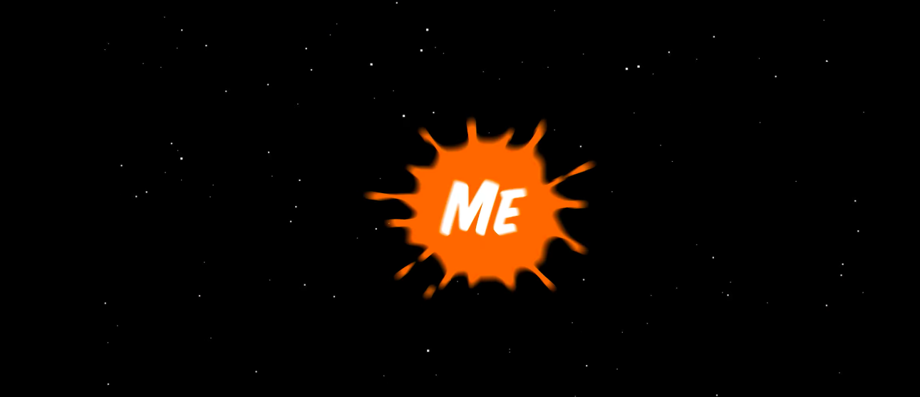 "The word ""Me"" in orange Nickelodeon splat."