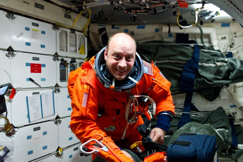 NASA astronaut Garrett Reisman on the middeck of the space shuttle Atlantis in 2010.