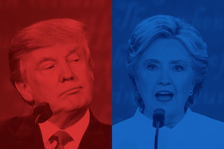 On the left is a picture of Donald Trump colored red. On the right is a picture of Hillary Clinton colored blue.