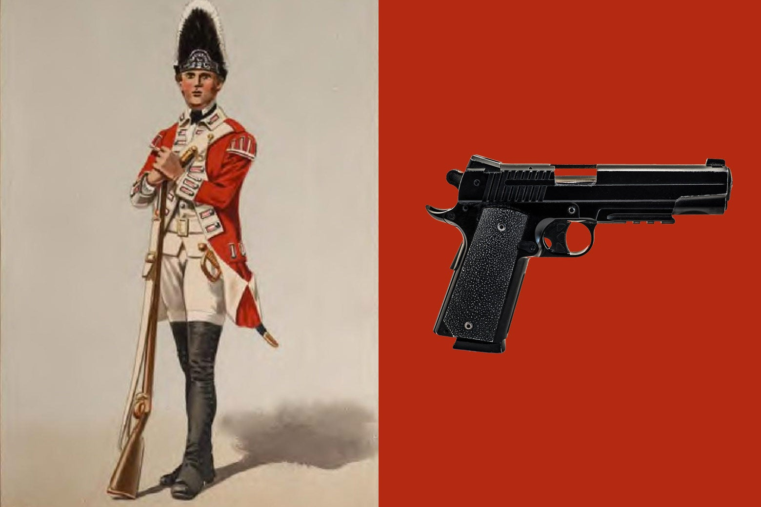 At left: a British soldier with an old-fashion gun. At right: a modern handgun.