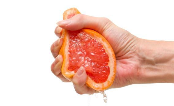 A squeezed grapefruit.