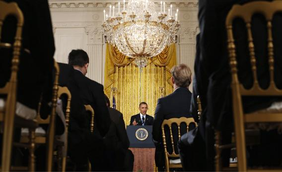 President Obama holds a news conference in the White House on Monday in Washington, DC.