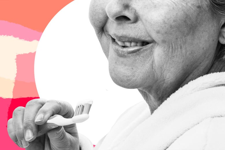 Photo illustration of an old woman smiling while holding a toothbrush.