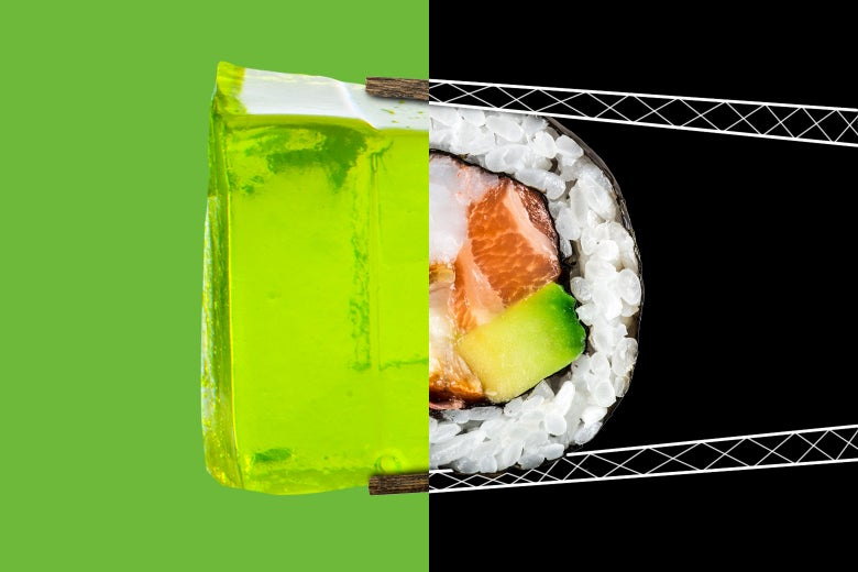 Photo illustration of agar-agar and sushi.