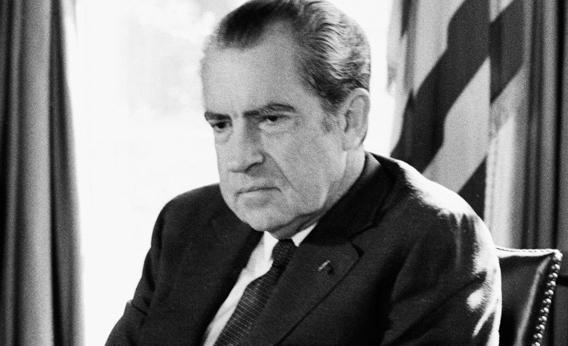 US President Richard Nixon sits in the Oval Office of the White House During Watergate scandal February 2, 1974 in Washington DC.