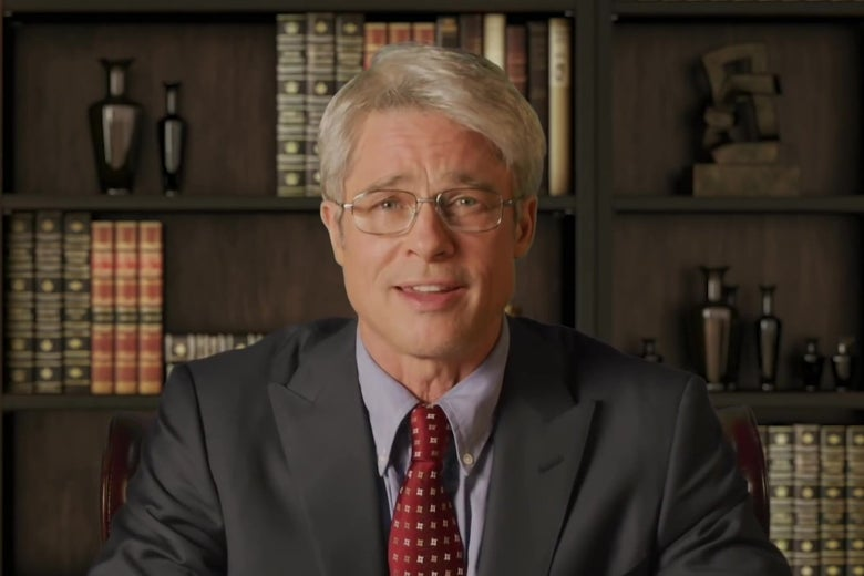 Brad Pitt, dressed as Anthony Fauci.