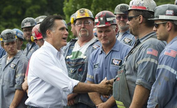 Mitt Romney greets coal miners following a campaign event at the American Energy Corporation in Ohio.