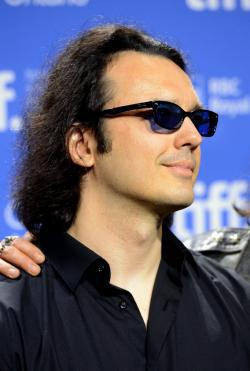 Producer Damien Echols speaks onstage at the 'West of Memphis' press conference.