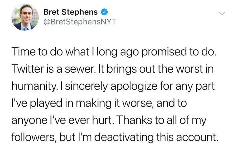 Screenshot of Bret Stephens tweet announcing he's shutting down his Twitter account.